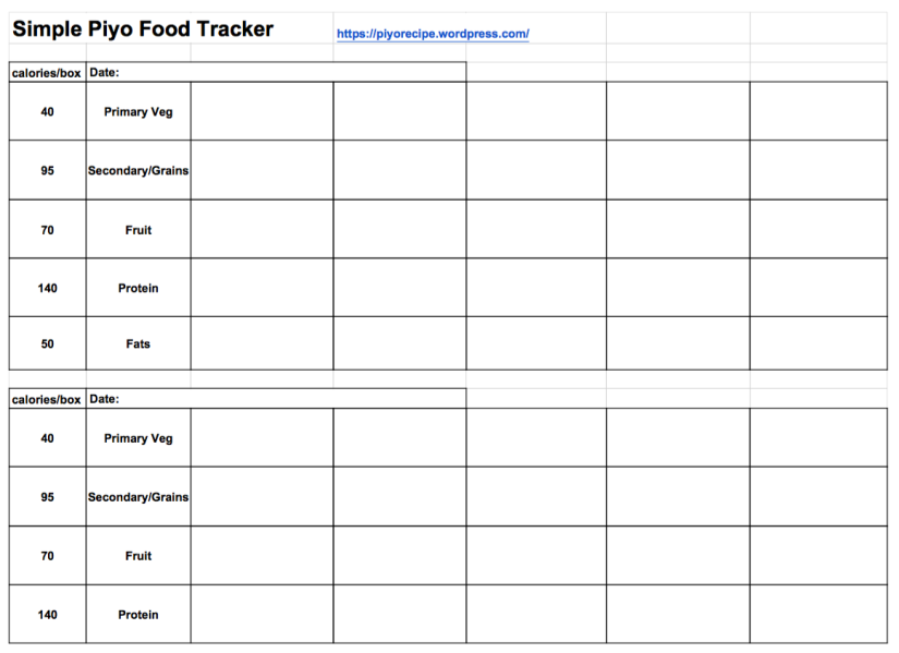 Simplified Piyo Food Tracker Chart